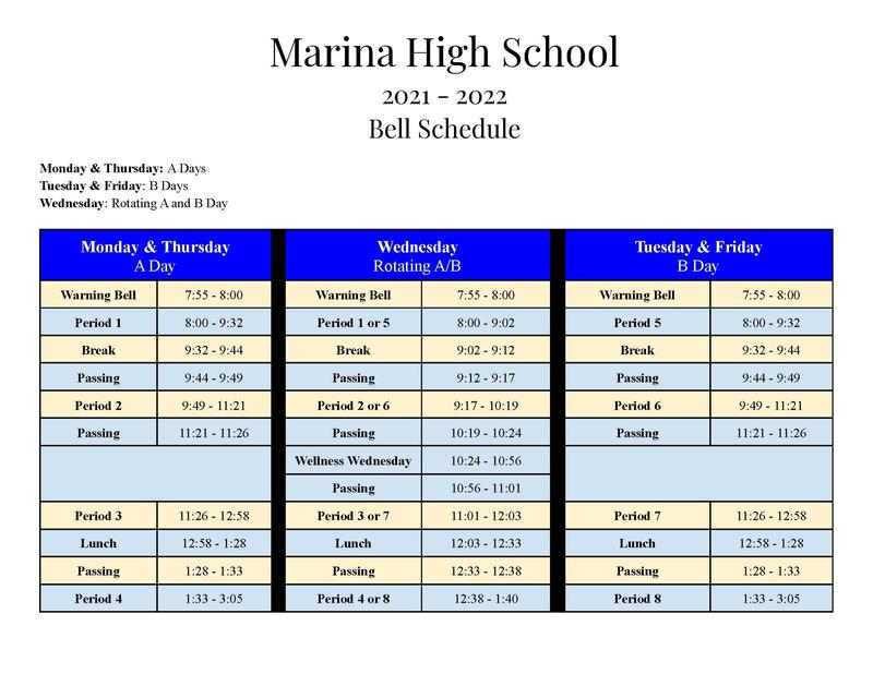 Bell Schedule starts on August 16th