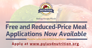Free and Reduced-Price meal application graphic for PYLUSD.