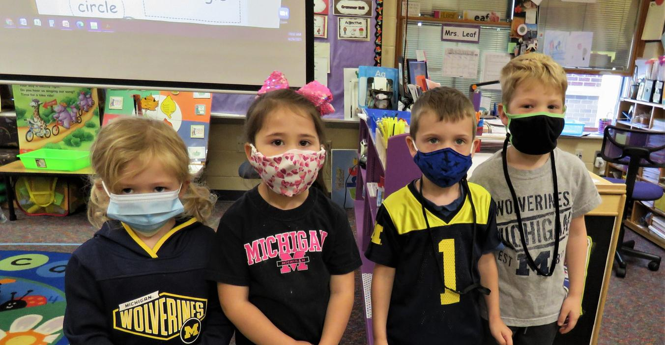 McFall students decked out in their Michigan gear for college day.
