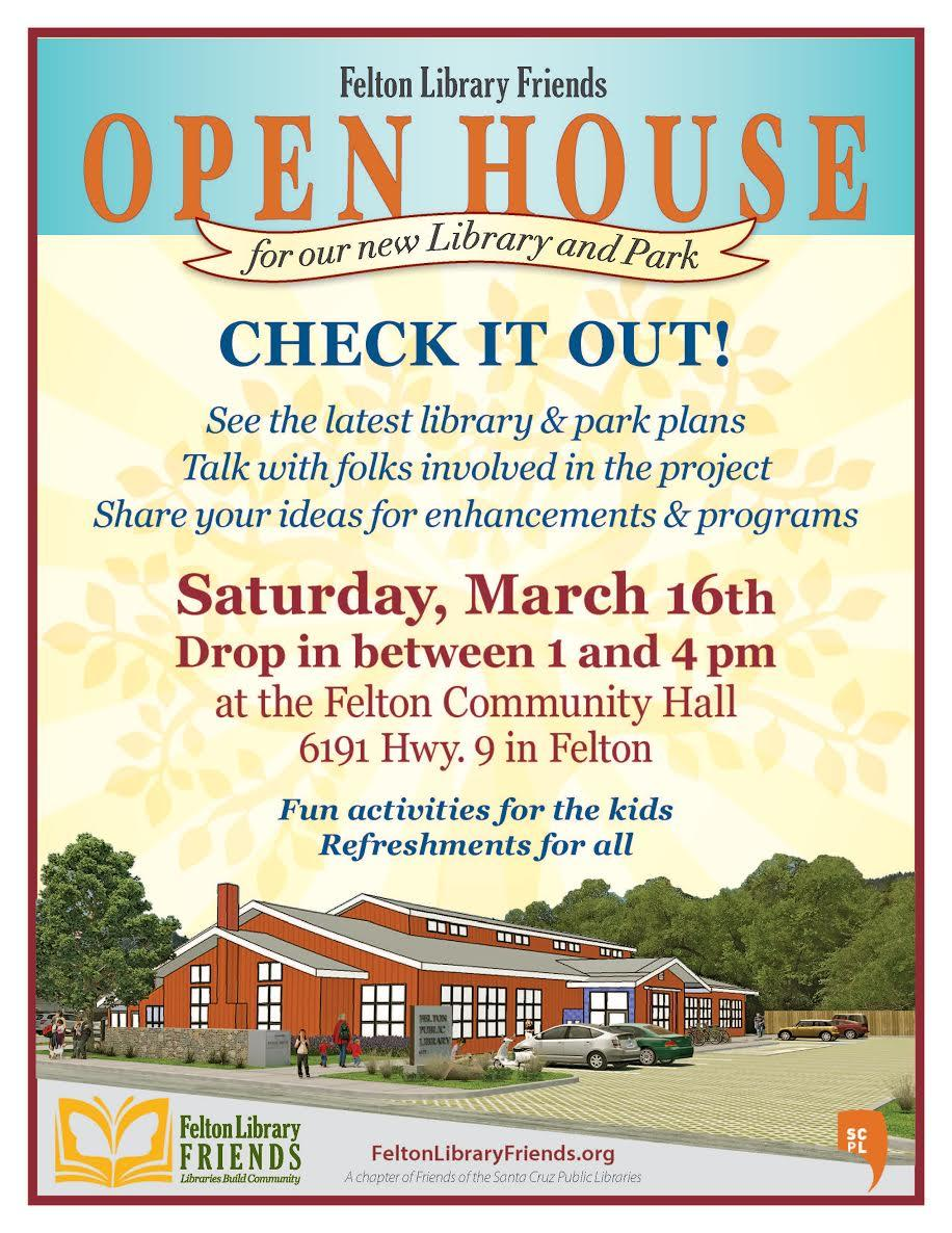 felton library friends open house march 16 1:00-4:00