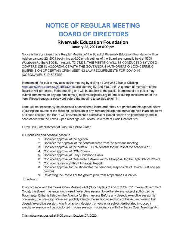 Board Meeting Agenda - Jan 22nd Featured Photo