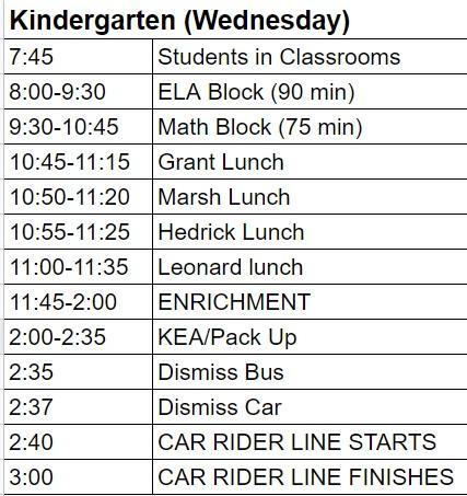 Kindergarten enrichment schedule image