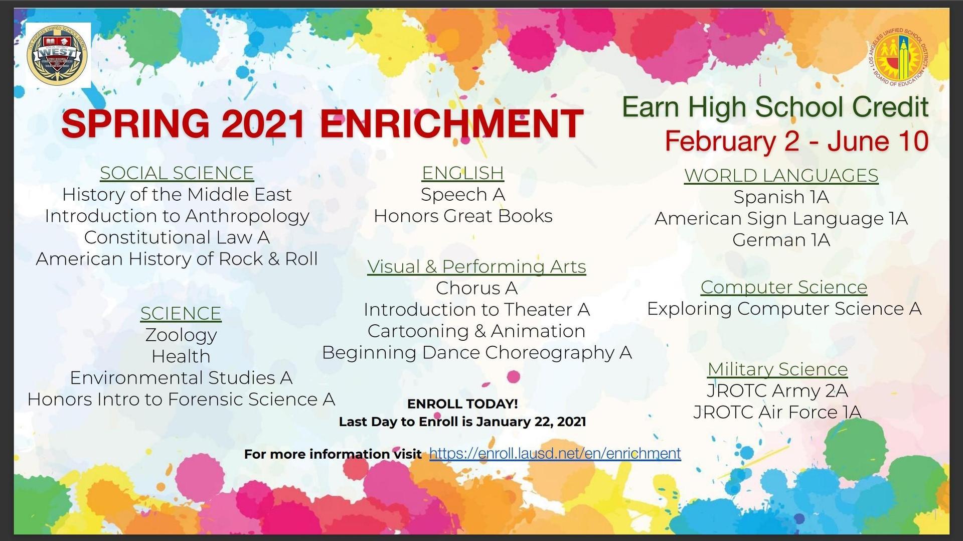 Spring 2021 Enrichment Courses