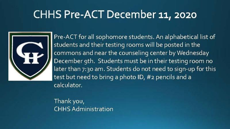 Pre-ACT Sophomores Only Dec. 11, 2020