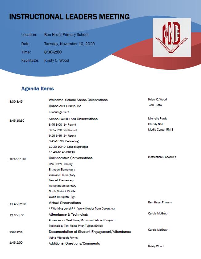 Instructional Leaders Meeting-November