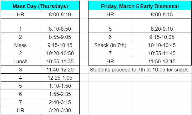 Bell Schedules March 4-5 Featured Photo