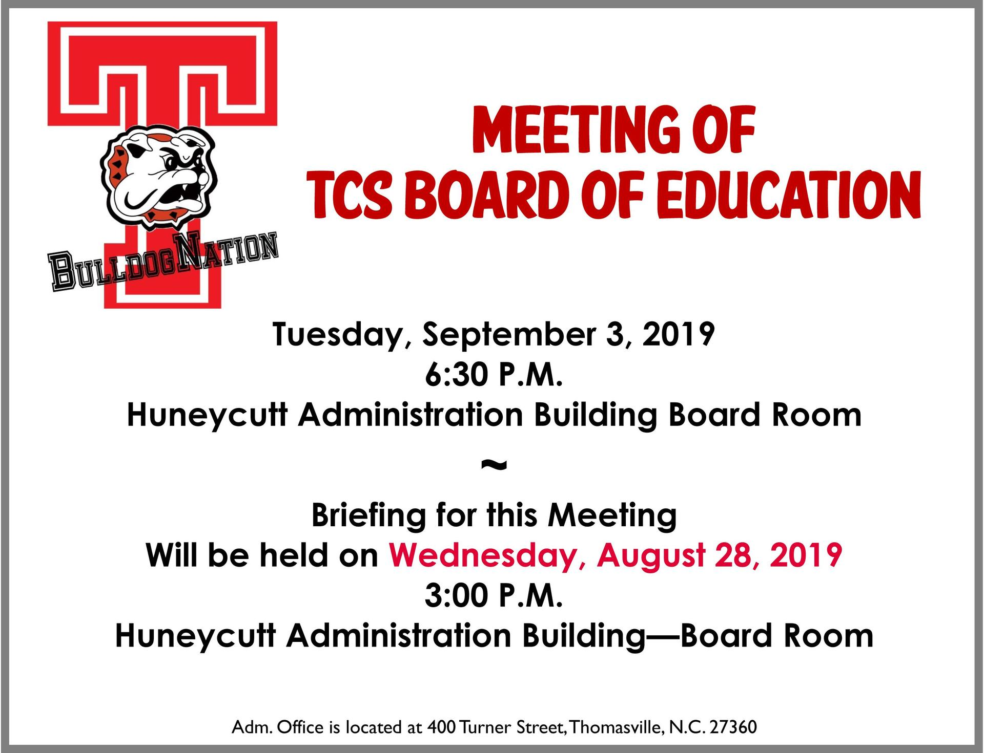 Notice of September Board Meeting