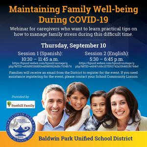 Foothill Family is providing a webinar for caregivers who want to learn practical tips on how to manage family stress during this difficult time.