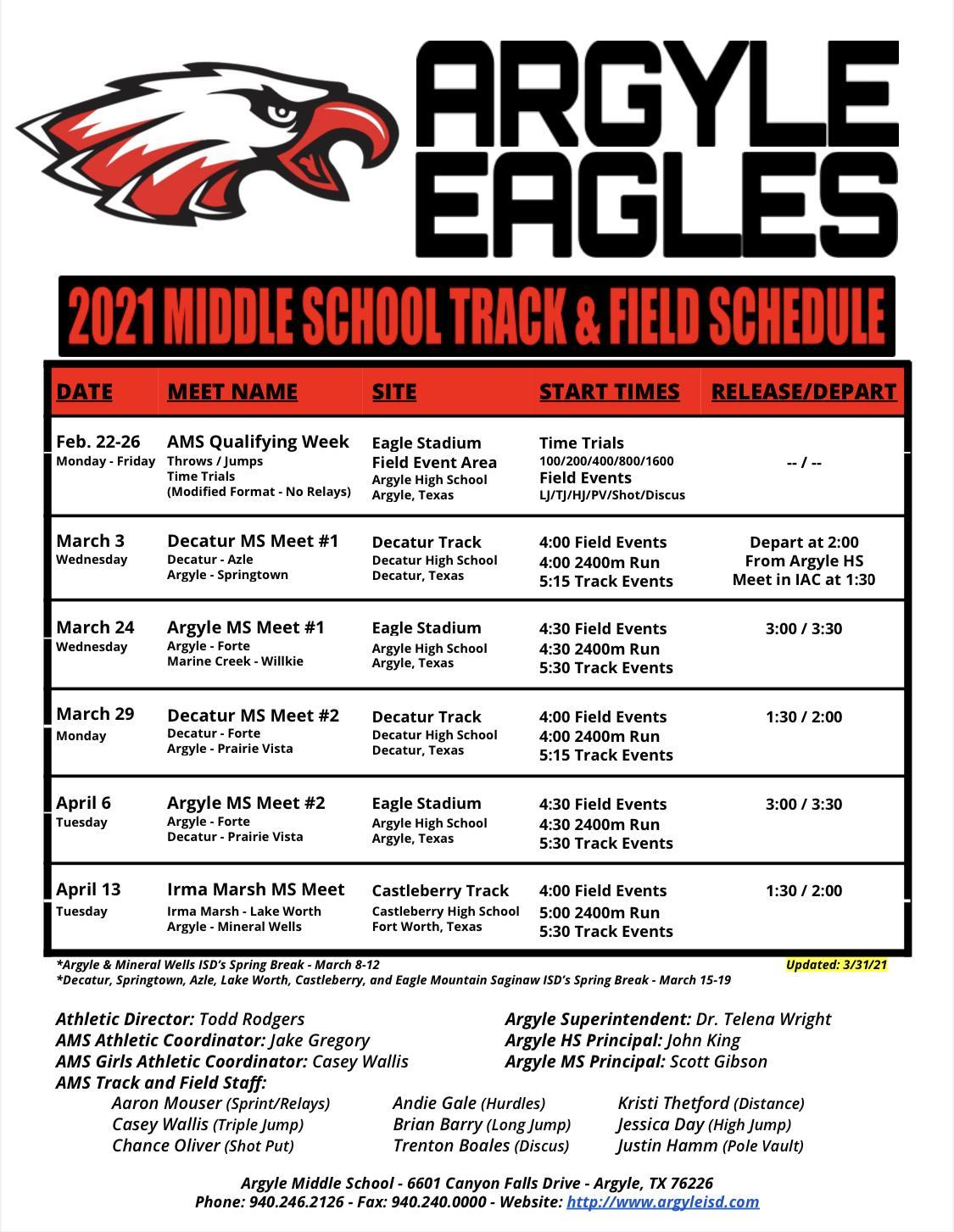 2021 Argyle MS Track and Field Schedule - Updated 3-31-21