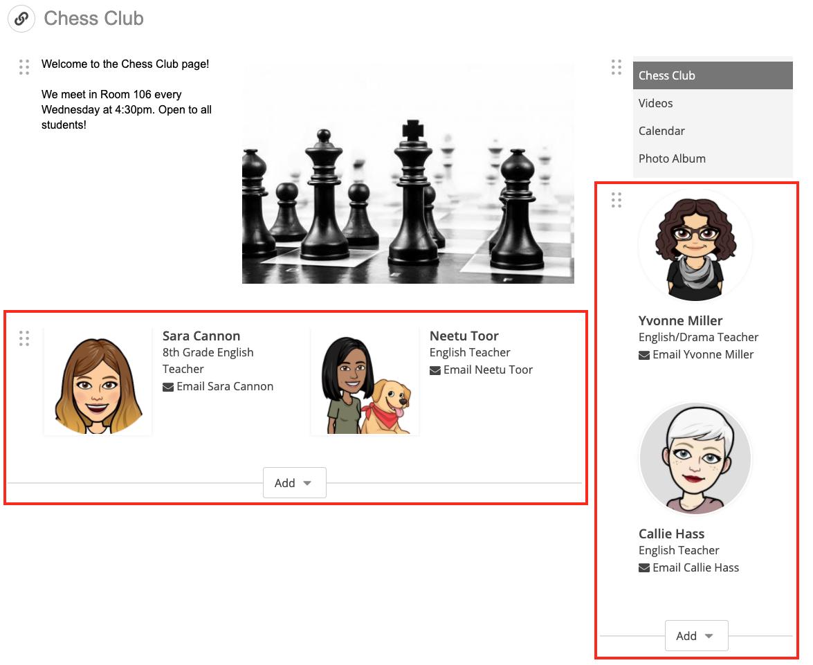 screenshot of multiple Staff Blocks on a single page