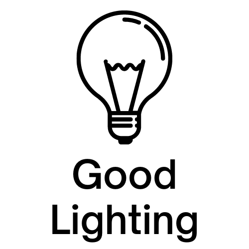 "Image of a lightbulb with ""Good Lighting"" written under it."