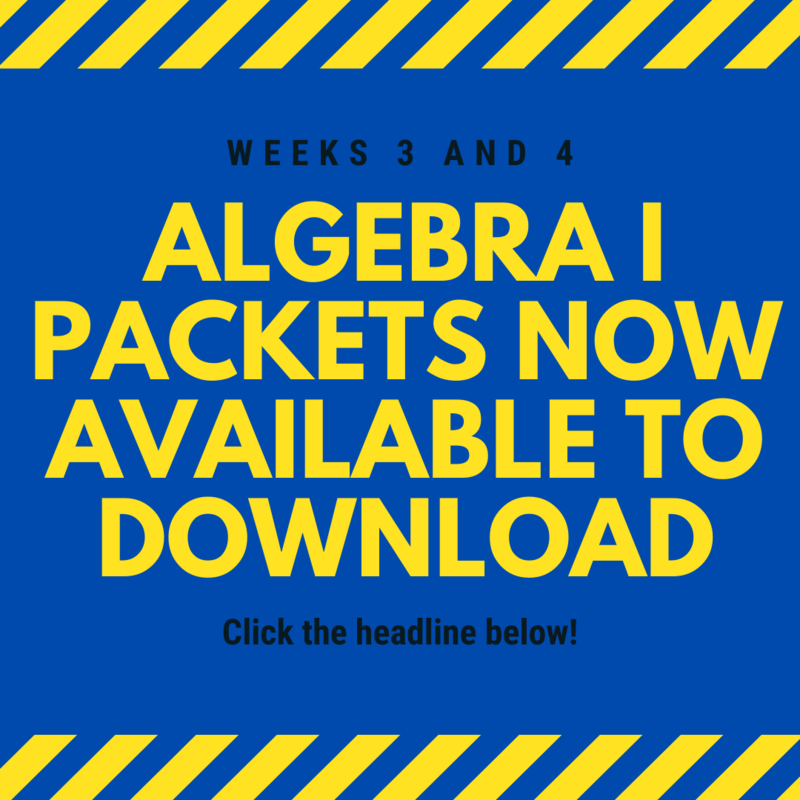 Algebra I Packets Available to Download Featured Photo