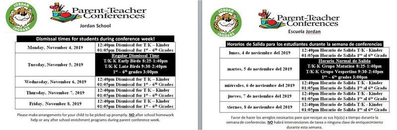 Dismissal Schedule for Parent-Teacher Conference Week Nov. 4-8, 2019