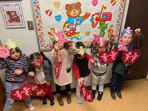 Children with Valentine Decor