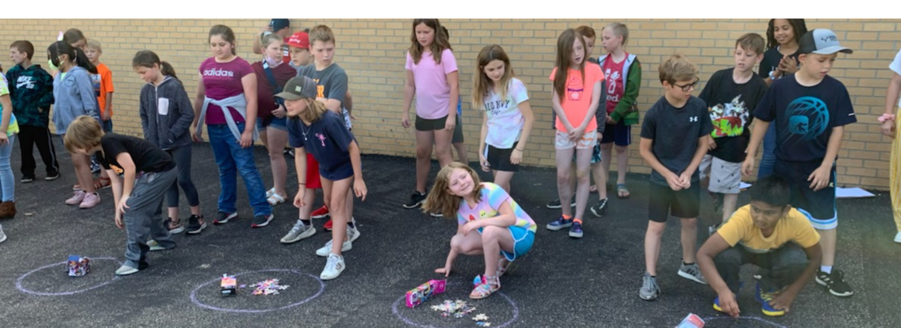 Students participating in a relay race.