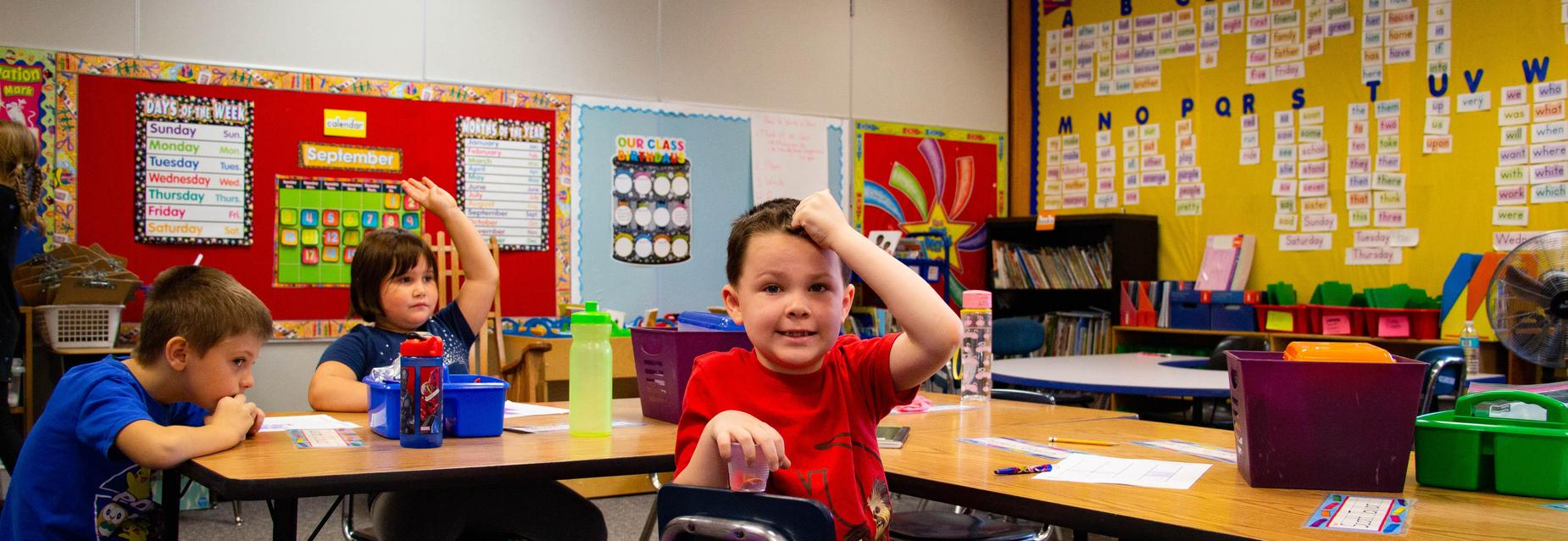 1st grade student in classroom