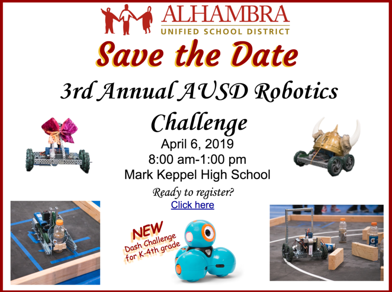 Save the Date 3rd Annual AUSD Robotics Challenge Featured Photo