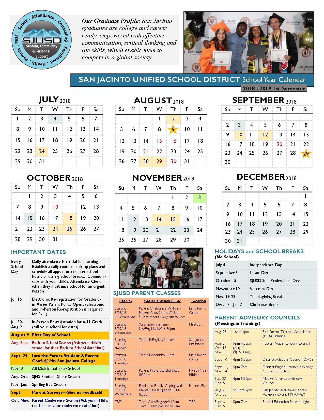 18-19 School Year Calendar