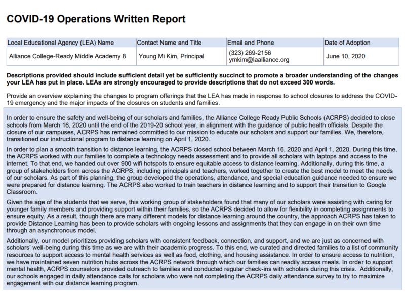 COVID-19 Operations Written Report Thumbnail Image