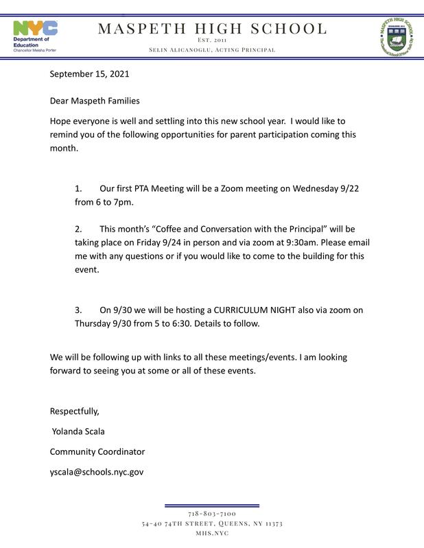 Parent Events Letter