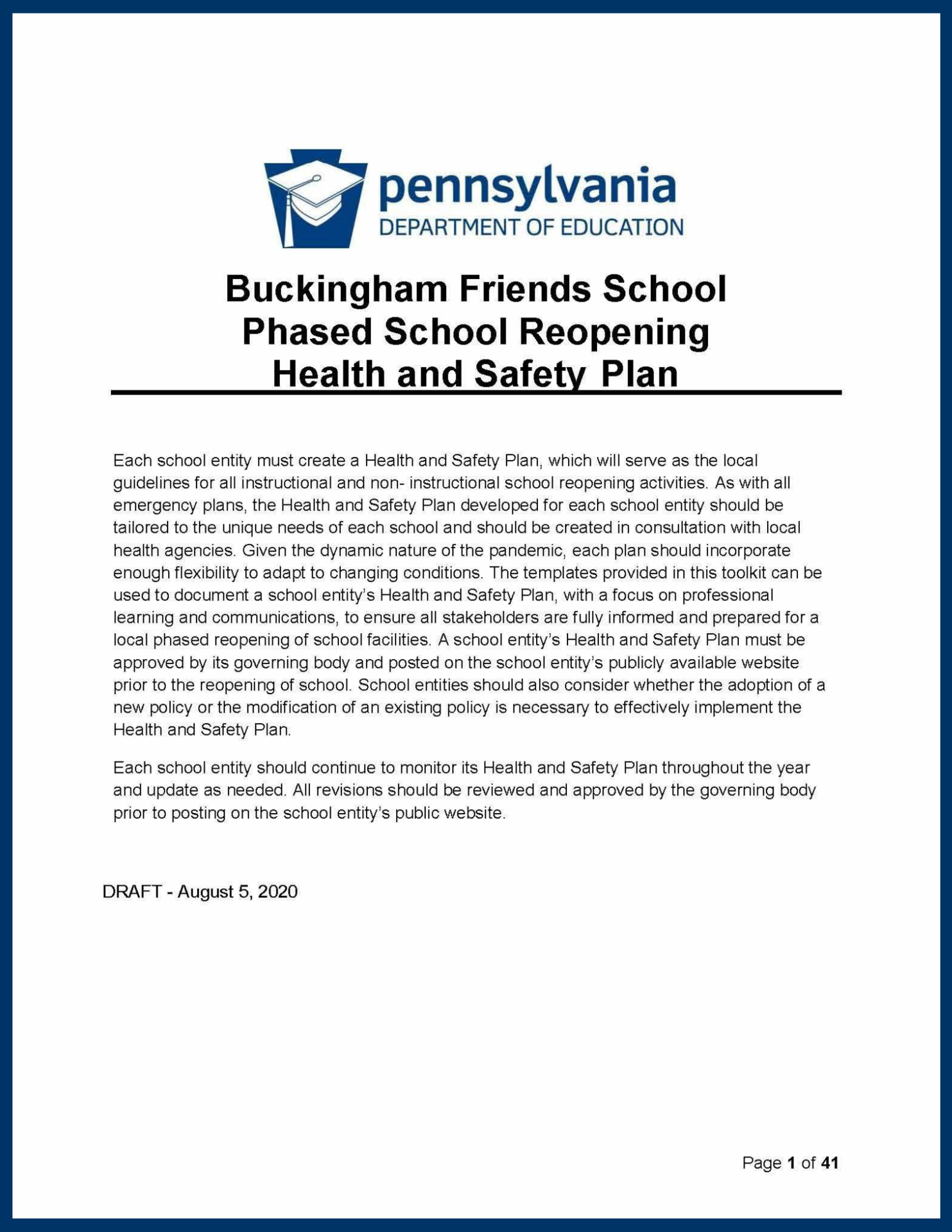 Phased School Reopening Health & Safety Plan