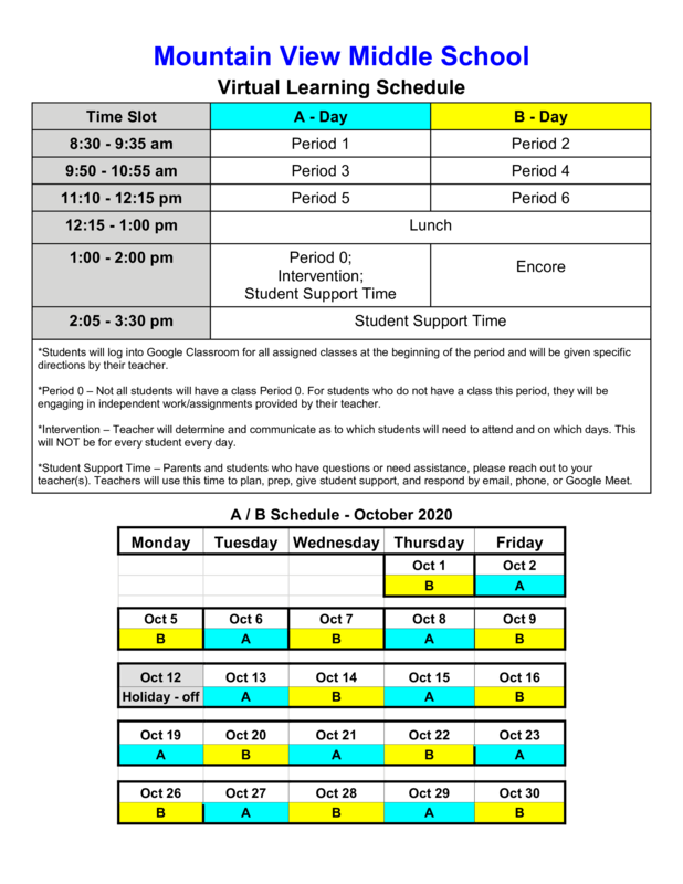 Virtual Learning Schedule Featured Photo