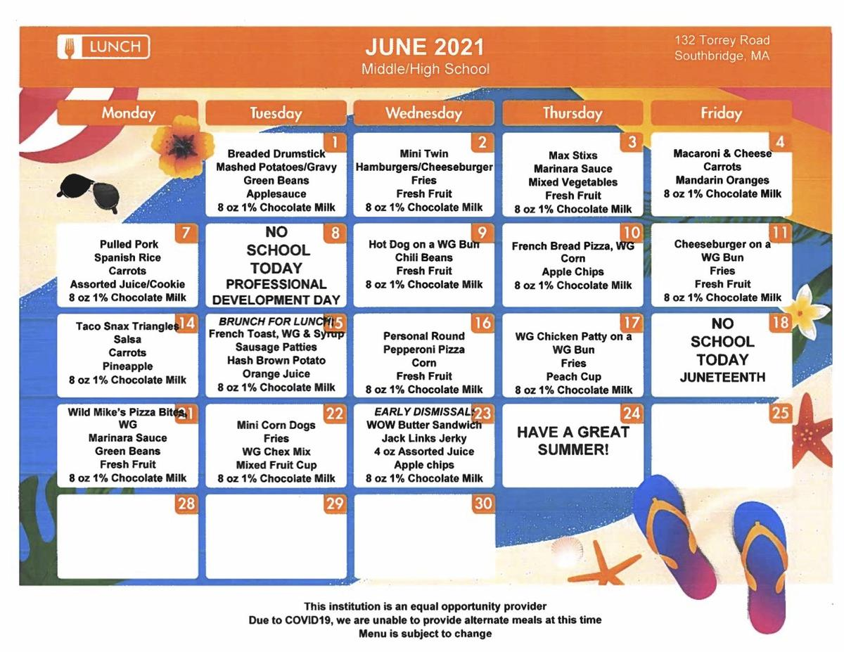 June 2021 lunch menus for Southbridge Middle School and Southbridge High School