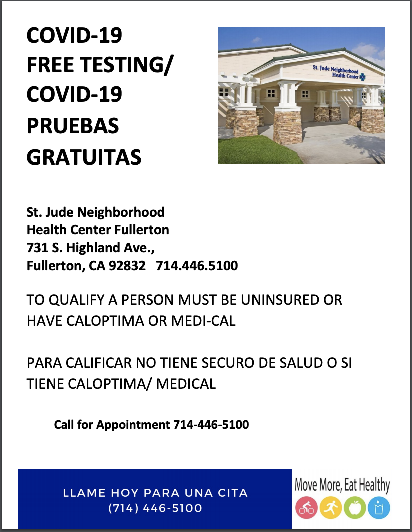 St. Jude - Covid Testing Flyer