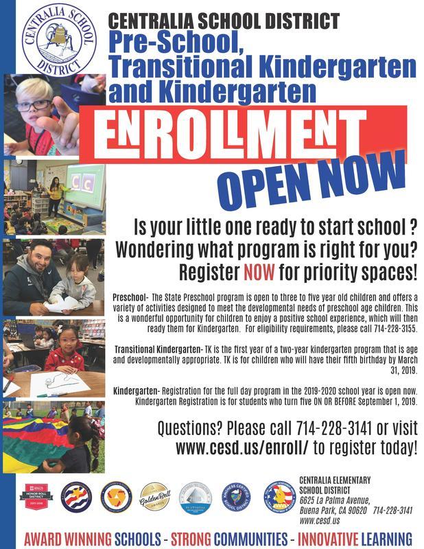 PReschool, Transitional Kindergarten and Kindergarten enrolling now