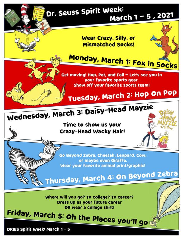 Dr. Seuss Spirit Week March 1-5