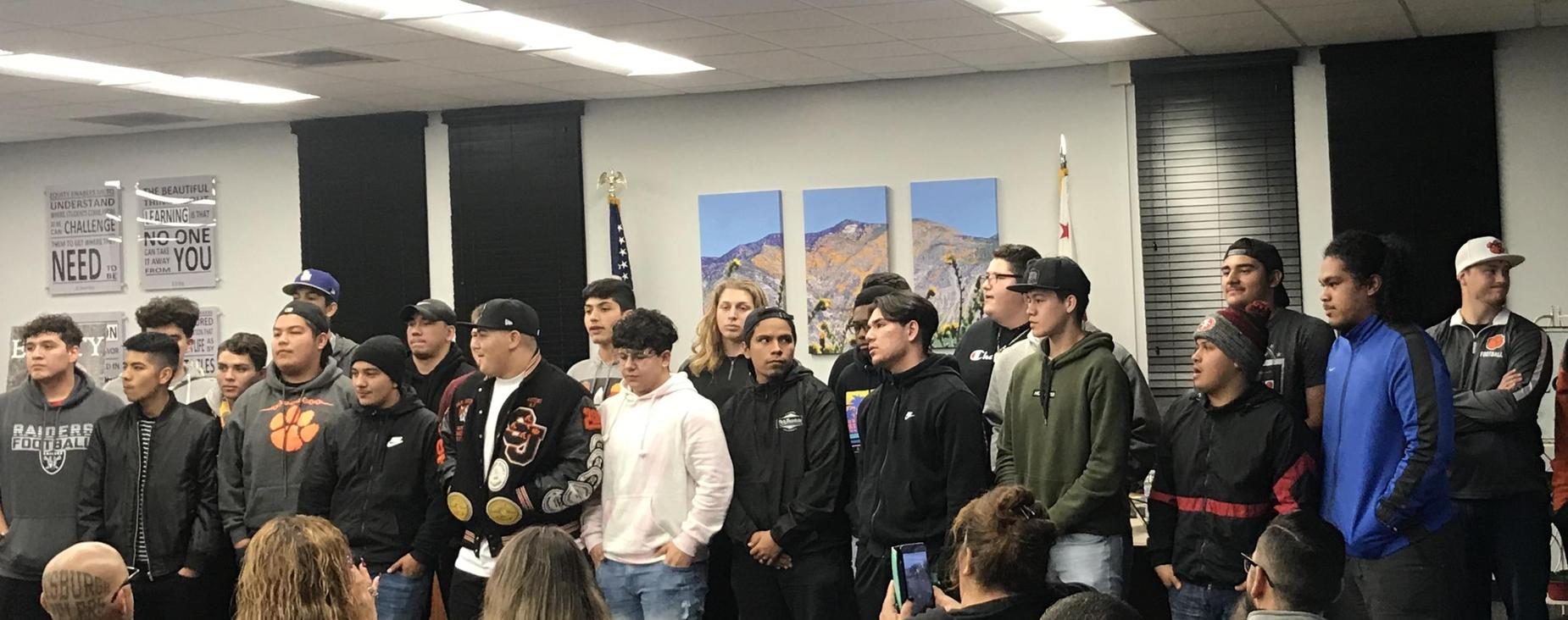 SJHS Varsity Football was recognized for their CIF League Championship.  Go, Tigers!