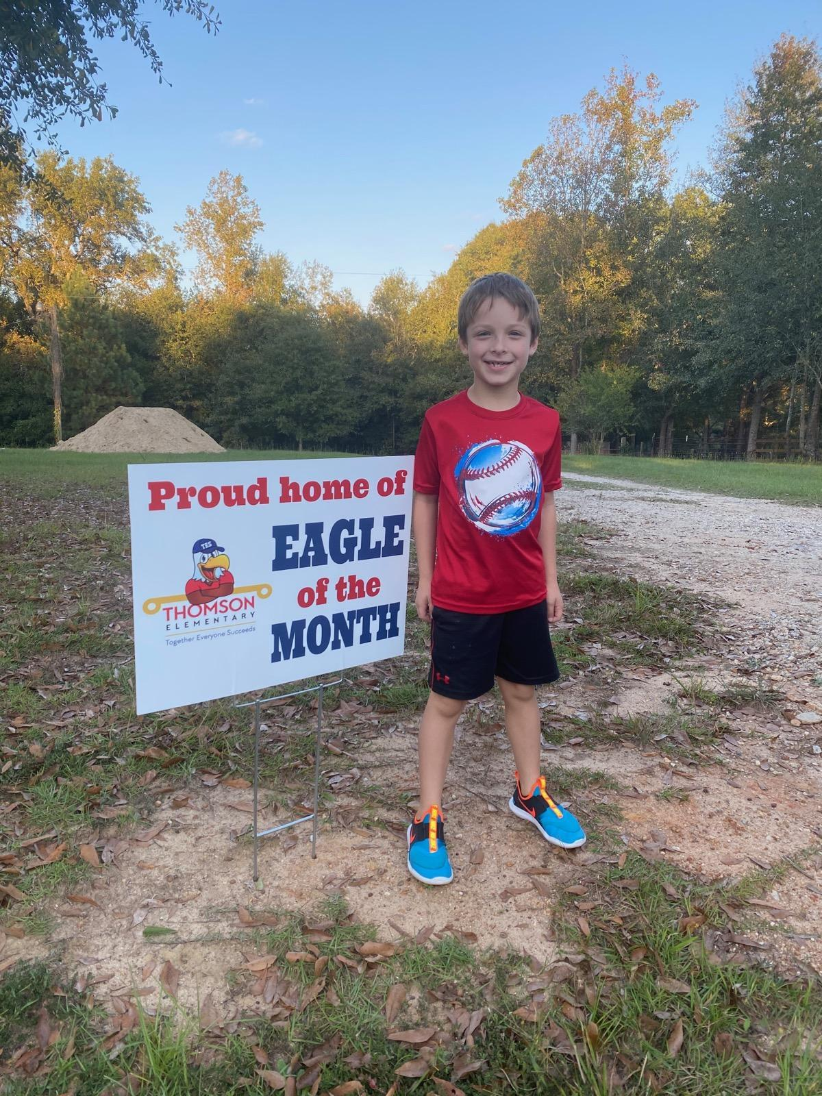Second grade Eagle of the Month student