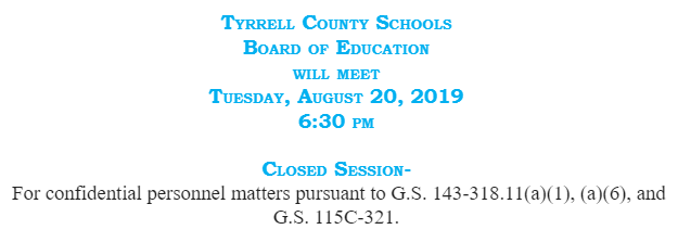 BOE Meeting Tuesday, August 20, 2019