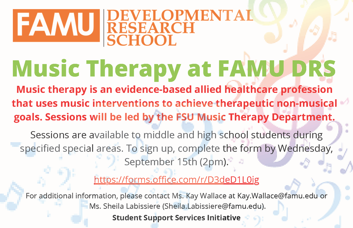 Music Therapy at FAMU DRS 2021-22