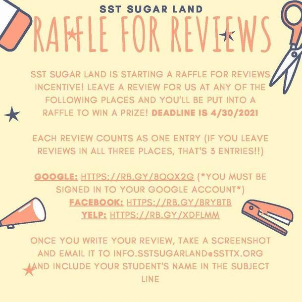 RAFFLE FOR REVIEWS FOR SST SUGAR LAND Featured Photo