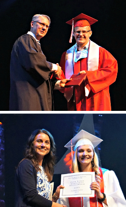Phillip Uhrig Receiving Diploma and Kyndall Porter Receiving Scholarship