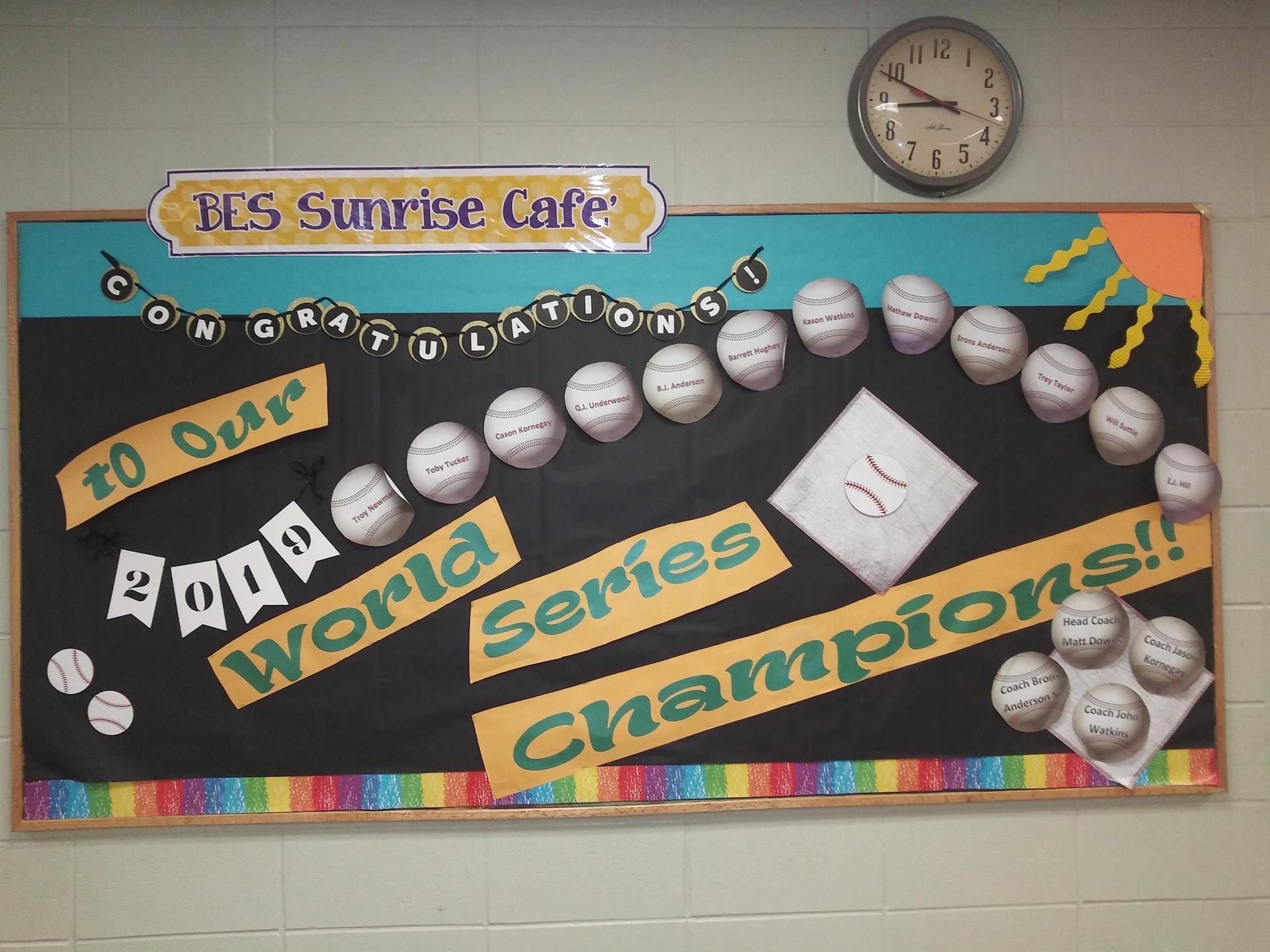 Brent Elementary lunchroom bulletin board Baseball