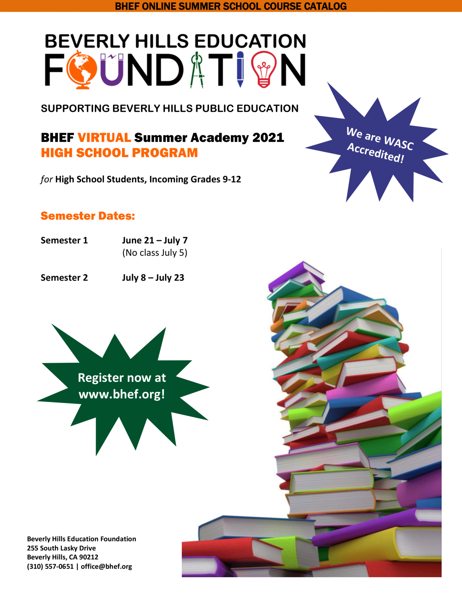 HS Summer Academy Course Catalog