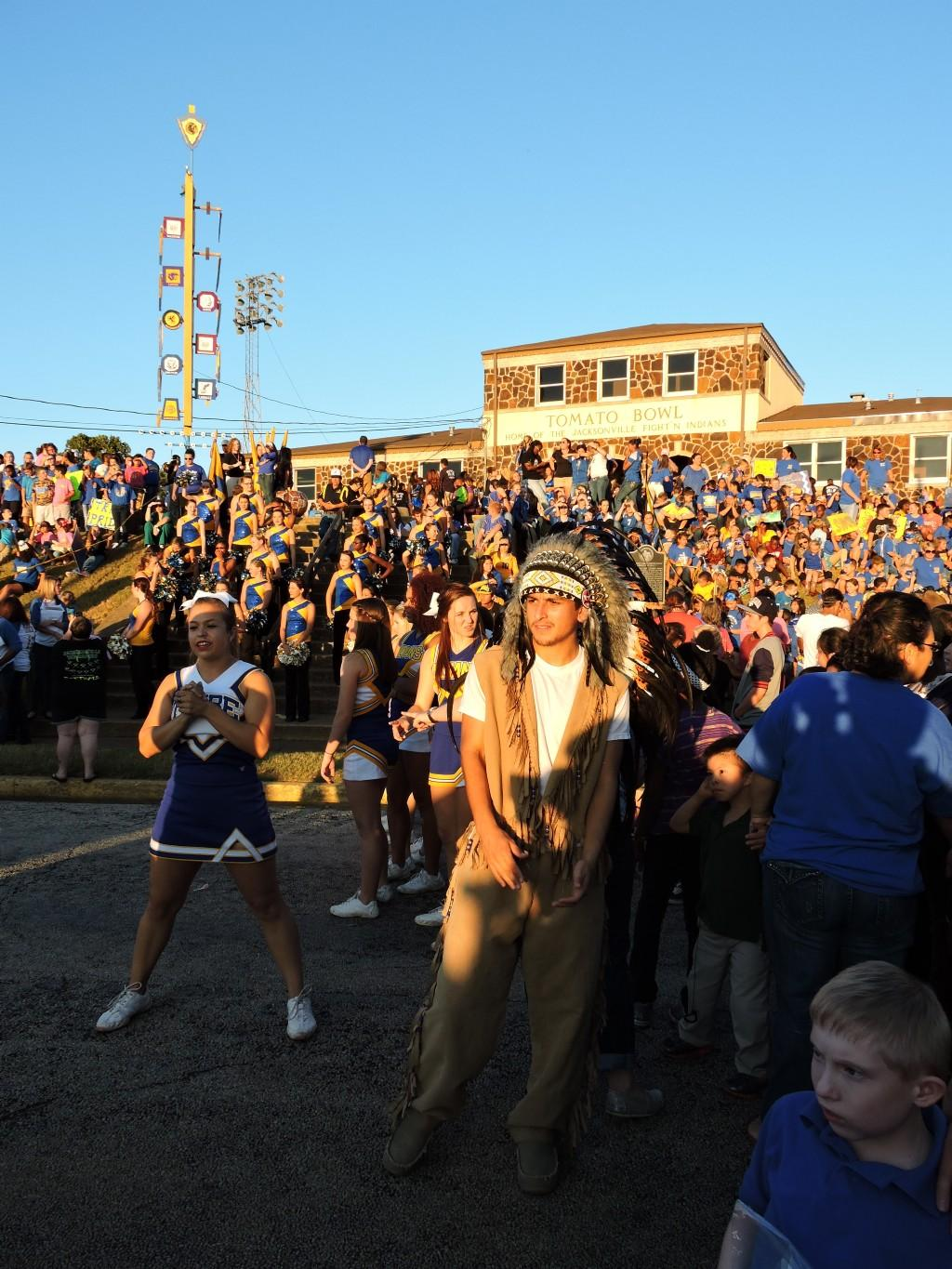 crowd in front of Tomato Bowl at pep rally