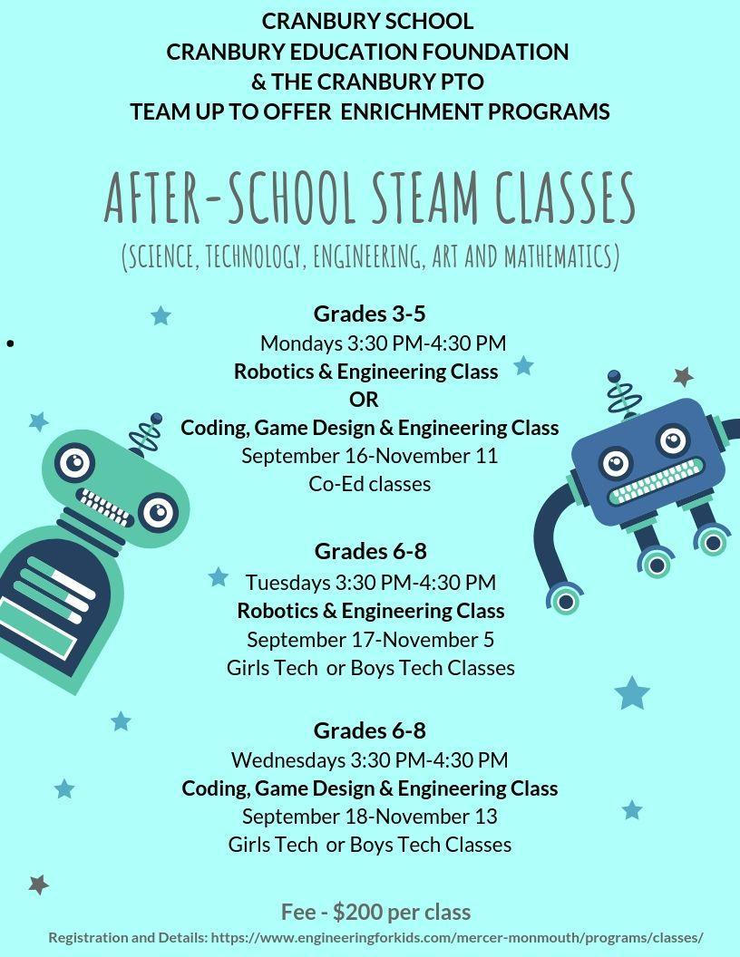 Flyer with information on After-School STEAM classes for grades 3-5 and 6-8.