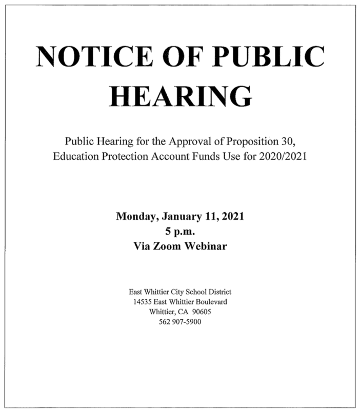 Screenshot of public hearing flyer.