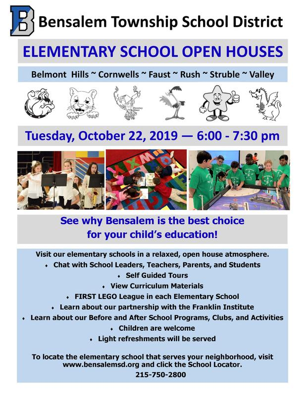 Flyer advertising elementary school open houses. 3 photos of students are included. 3 girls are playing musical instruments, 4 students are laying on a colorful carpet reading, and boys and girls dressed in green shirts are working with small robots