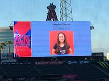 Jasmine Duran is honored for her achievement in AVID at Angel Stadium.