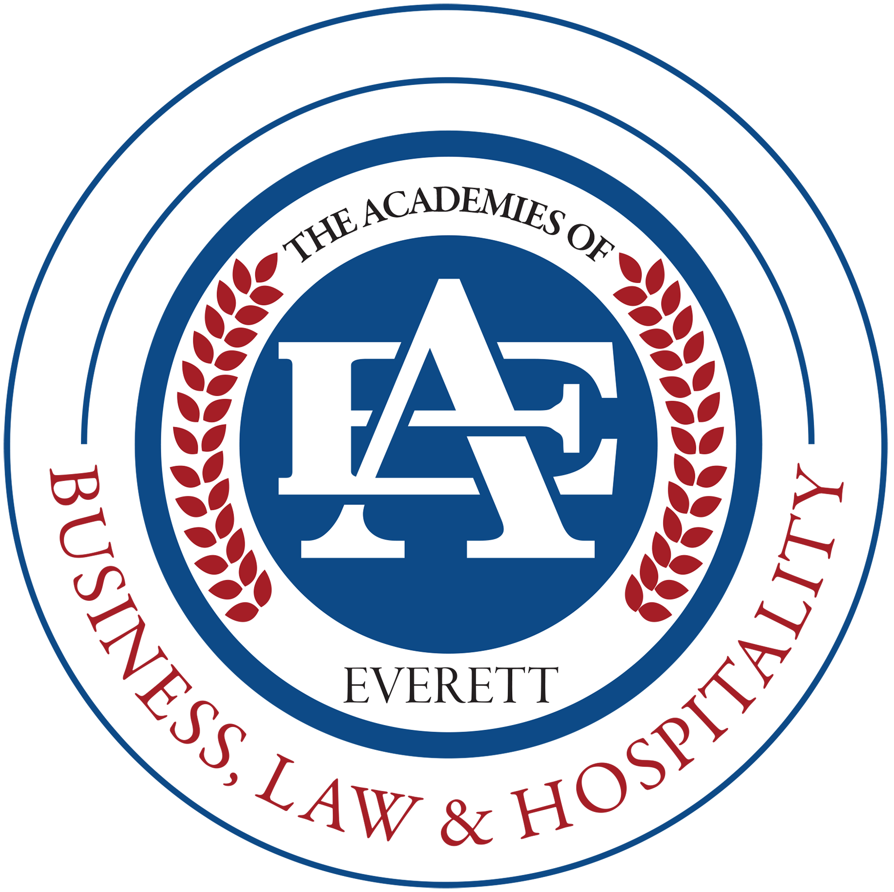 The Business, Law and Hospitality logo featuring blue circles and red leafs