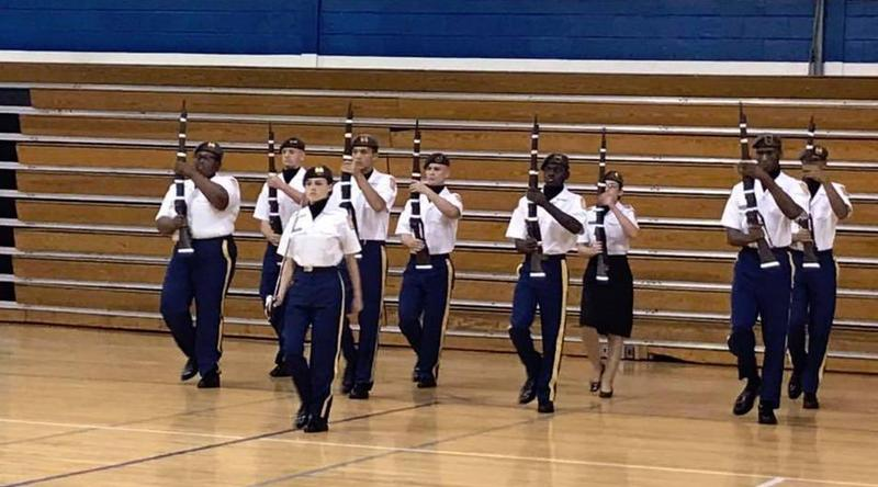 Members of Airport High's drill team