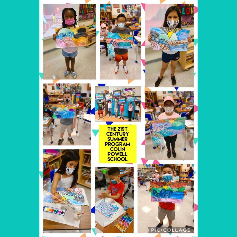 Students holding landscape art collage