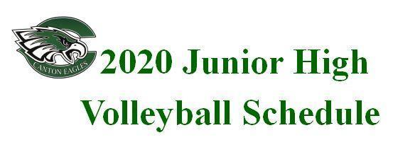2020 Junior High Volleyball Schedule