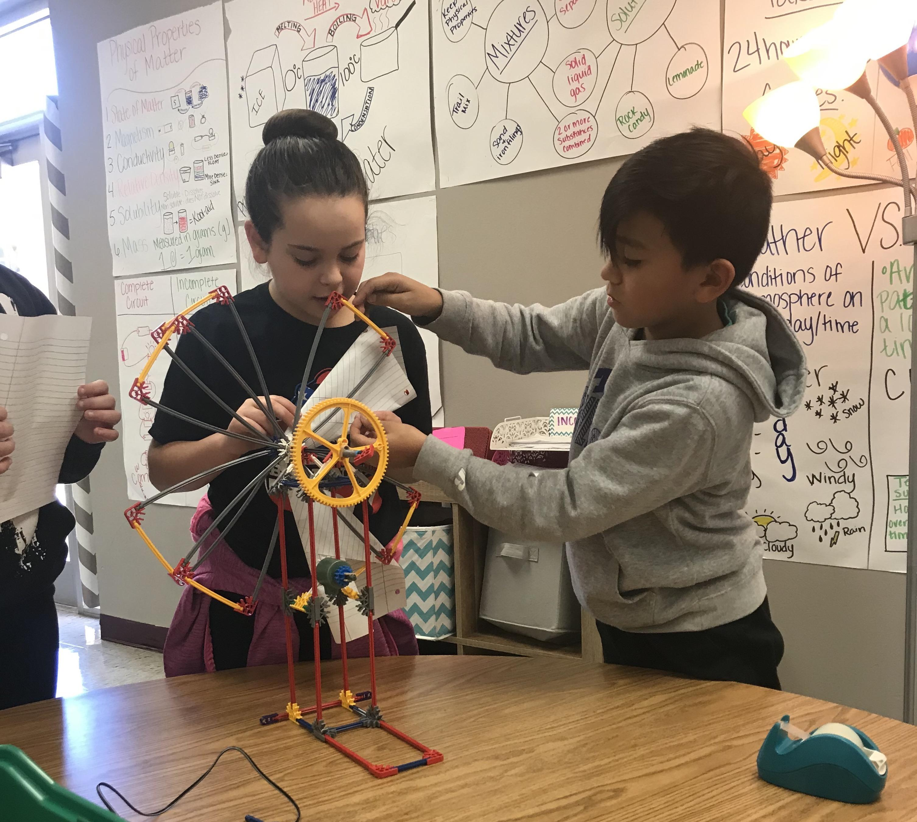 Fifth grade students in Valerie Valadez's science class at Tannahill Intermediate created replicas of alternative energy-powered machines as part of the K'nexing Science Through STEM Grant,