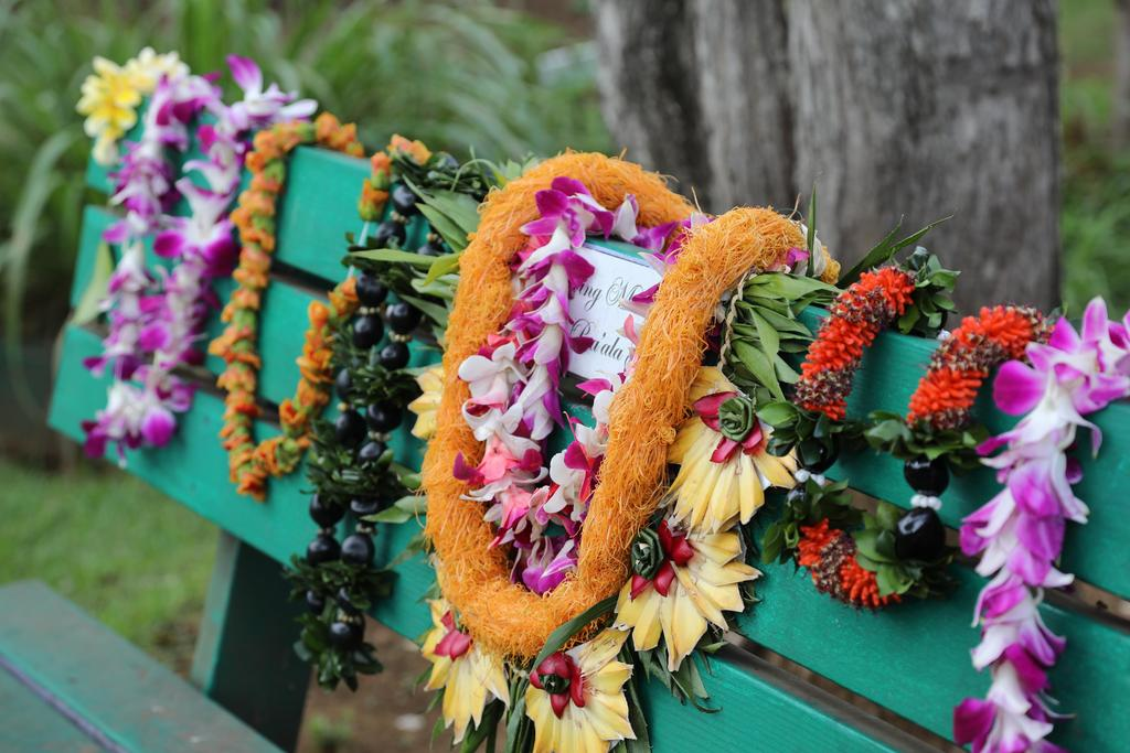 lei on a bench