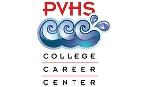 PVHS College Career Center logo red text with blue waves
